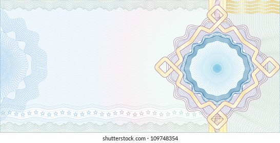 Secured Guilloche Background for Voucher, Gift Certificate, Coupon or Banknote / Vector
