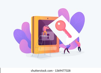 Security access card, access control key, security system with automatic access card concept. Vector isolated concept illustration with tiny people and floral elements. Hero image for website.