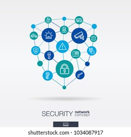 Security, access control integrated thin line web icons in shield shape. Digital network concept. Connected graphic design polygons, circles system. Cctv, protect, safety vector abstract background.