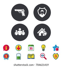 Security agency icons. Home shield protection symbols. Gun weapon sign. Group of people or Share. Calendar, Information and Download signs. Stars, Award and Book icons. Light bulb, Shield and Search