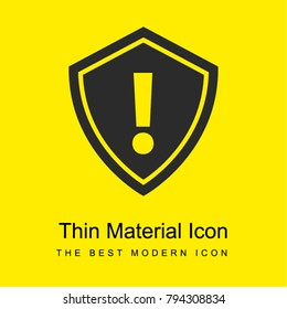 Security alert symbol of an exclamation sign inside a shield bright yellow material minimal icon or logo design