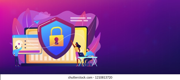 Security analysts protect internet-connected systems with shield. Cyber security, data protection, cyberattacks concept on white background. Header or footer banner template with copy space.