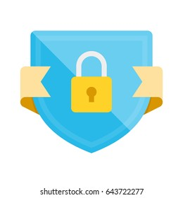 Security badge icon with shield and padlock. Modern flat vector illustration.