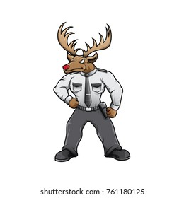 Security buck deer mascot vector hand drawn color character