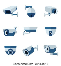 Security camera, CCTV  flat icons set.  Surveillance private protection, safety and watching, vector illustration