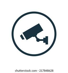security camera circle background icon, isolated on white background