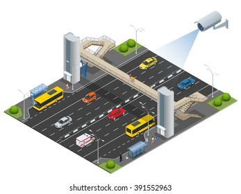 Security camera detects the movement of traffic. CCTV security camera on isometric illustration of traffic-jam with rush hour. 3d isometric vector illustration.