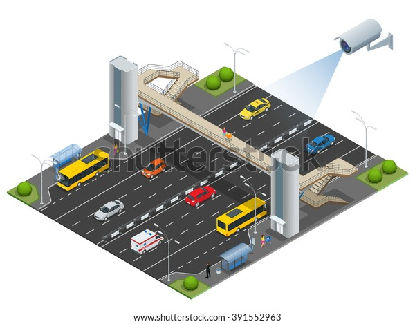 Security Camera Detects Movement Traffic Cctv Stock Vector