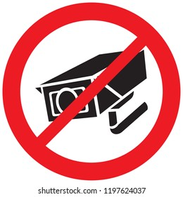 security camera forbidden sign (prohibition icon, not allowed symbol)