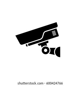 Security camera icon. Black, minimalist icon isolated on white background. CCTV camera simple silhouette. Web site page and mobile app design vector element.
