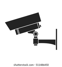 Security camera icon in black style isolated on white background. Museum symbol stock vector illustration.