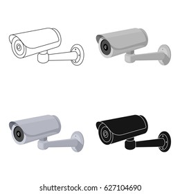 Security camera icon in cartoon style isolated on white background. Parking zone symbol stock vector illustration.