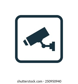 security camera icon Rounded squares button, on white background