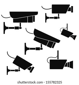 Security camera. Icon set. Vector illustration