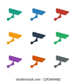 security camera icon white background. Editable filled security camera icon from smarthome. Trendy security camera icon for web and mobile.