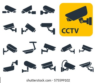 security camera icons, video surveillance, cctv sign set