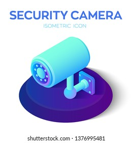 Security camera isometric icon. 3D CCTV Camera icon. Security Surveillance CCTV Camera Watch. Video surveillance. Security equipment and security guard. Vector llustration.