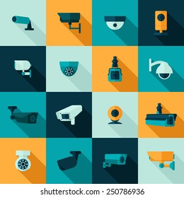 Security camera police video guard electronic icon set isolated vector illustration