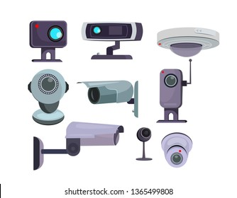 Security camera set. Hanging camera collection. Can be used for topics like spy, privacy, protection equipment