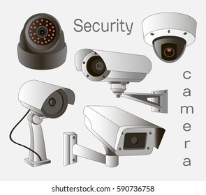 Security camera set . Vector Illustration isolated on white background