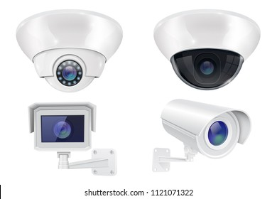 Security camera set. Wall and ceiling mount CCTV surveillance system. Vector 3d illustration isolated on white background