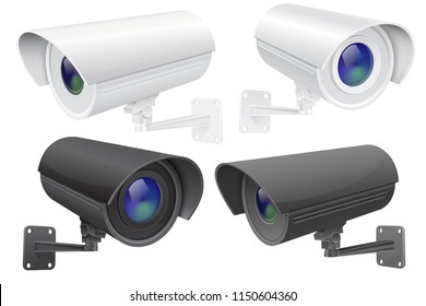 Security camera set. White and black CCTV surveillance system. Vector 3d illustration isolated on white background