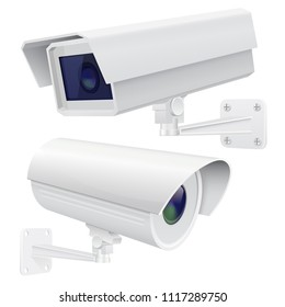 Security camera set. White CCTV surveillance system. Vector 3d illustration isolated on white background