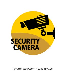 Security camera sign. Information round sticker. Video surveillance camera logo. CCTV concept.