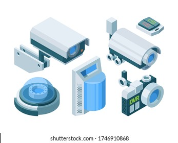 Security camera smart isometric set. Electronic modern security home office switch lock street dome cameras ptz, automated surveillance smart protection technology. Vector isometric.