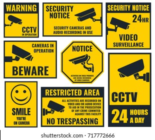 security camera sticker, video surveillance symbols, cctv icons. vol.3