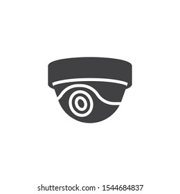 Security camera vector icon. Dome CCTV filled flat sign for mobile concept and web design. Surveillance dome camera glyph icon. Symbol, logo illustration. Vector graphics
