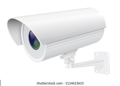 Security camera. White CCTV surveillance system. Vector 3d illustration isolated on white background