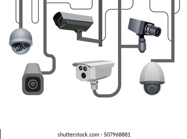 Security cameras. Security system. Vector illustration.