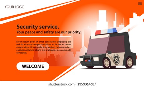 Security Car on Red Landscape Background in Minimalistic Design with Download Button. Security Services Concept. Website Template or Home Landing Page Concept. UI Design Mockup. Vector Illustration.