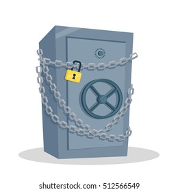 Security cash savings concept. Flat design. Protect your money idea visualization. Icon for banking, security services, safe shops. Big steel safe coiled chains illustration. On white background.