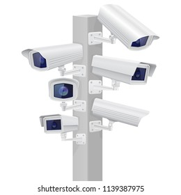 Security cctv cameras set. Traffic supervision. Vector 3d illustration isolated on white backgruond