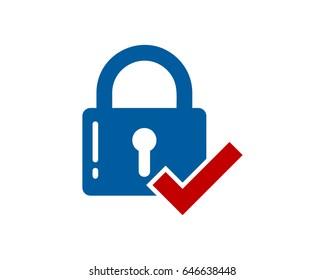 Security Check Lock Icon Logo Design Element