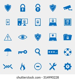 Security color icons on grey background, stock vector
