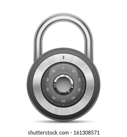 Security combination lock. Vector illustration of padlock