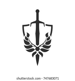 Security company logo template. Shield and sword.