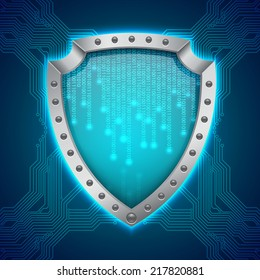 Security concept. Binary background. Shield with binary background. EPS10 vector