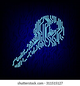 Security concept. Circuit board key logo icon on the digital high tech style vector background.