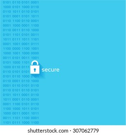 Security concept Data Lock on blue background