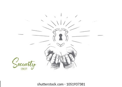 Security concept. Hand drawn human hands with security icon shield. Lock security icon isolated vector illustration.