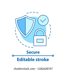 Security concept icon. Reliable service. Protection system. Defence idea thin line illustration. Vector isolated outline drawing. Editable stroke