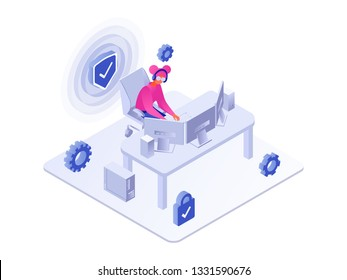 Security concept. Woman using pc 3d isometric vector illustration isolated on white