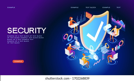 Security control concept. Secure infographic. Concept with technology system. 3d isometric vector illustration.