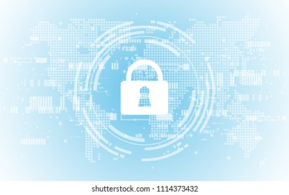 Security cyber digital concept Abstract technology background protect system innovation vector illustration