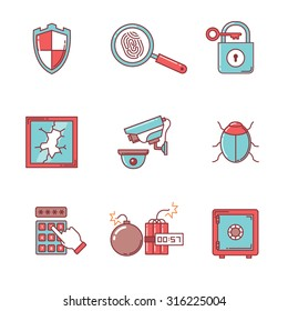 Security and cybersecurity icons thin line set. Flat style color vector symbols isolated on white.