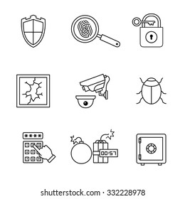 Security and cybersecurity icons thin line art set. Black vector symbols isolated on white.